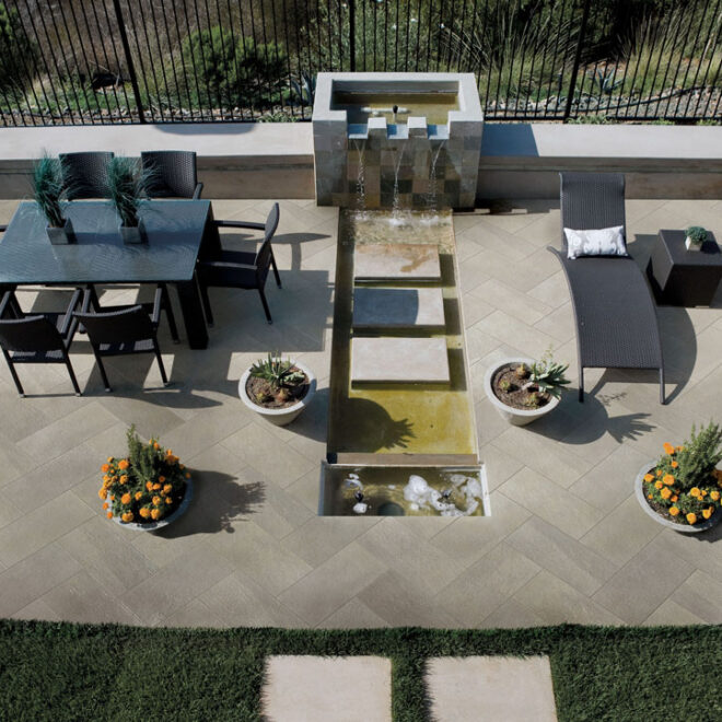 Back patio with contemporary fountain